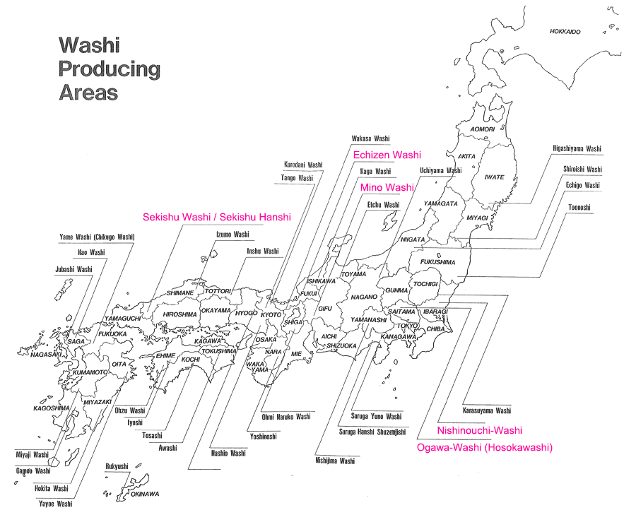A map of papermaking towns in Japan